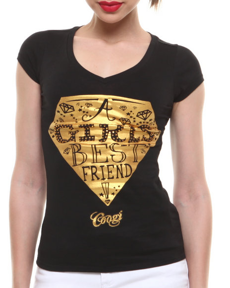 COOGI - Women Black Girls Best Friend Diamond V-Neck Tee