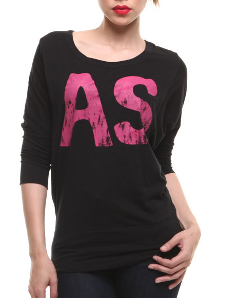 Fashion Lab - Women Black Brooklyn At 3/4 Sleeve Tee - $8.99