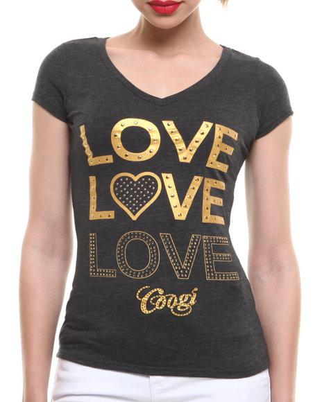 COOGI Black,Grey Love, Love, Love V-Neck Tee