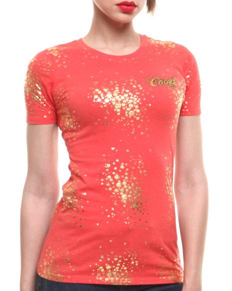 COOGI Coral Gold Sparkle Slashed Back Tee
