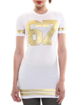 COOGI - Jersey Dress w/ Gold Foil Accents