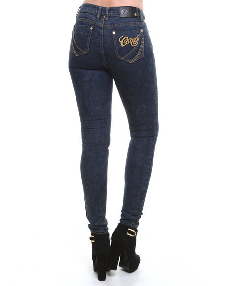Coogi - Women Dark Wash Skinny Coated Denim Jeans