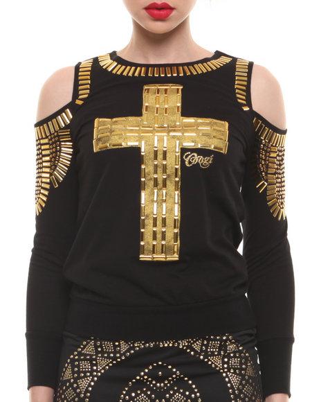 COOGI Black Embellished Cross Cutout Shoulder Sweatshirt