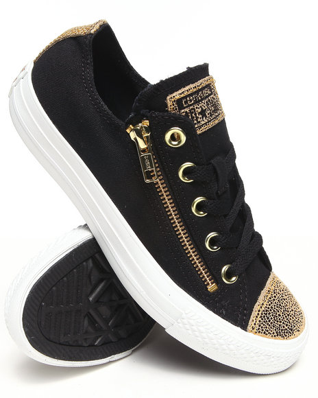 Converse - Women Black Chuck Taylor Sparkle Toe Cap All Star Double Zip Sneakers