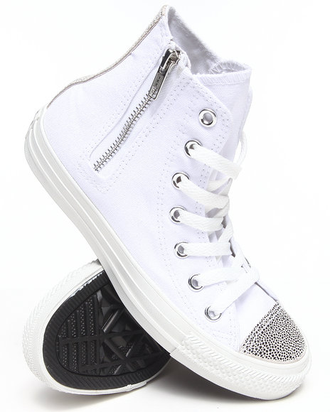Converse White Chuck Taylor Sparkle Toe Cap All Star Side Zip Sneakers