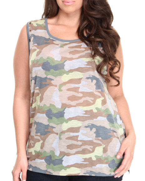 Fashion Lab - Women Brown, Camo Training Camp Camo Tank (Plus)