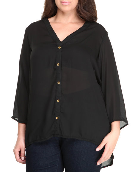 Basic Essentials - Women Black Beck Chiffon Top W/Metal Detail (Plus)