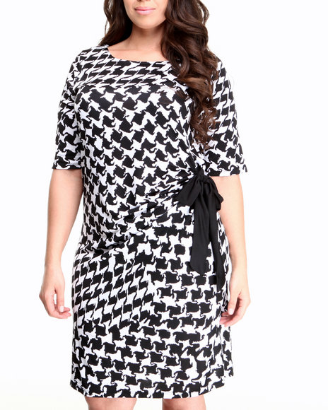Basic Essentials White Houndstooth Printed Dress (Plus Size)
