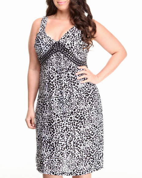 Basic Essentials - Women Black Marla Animal Print Dress (Plus)
