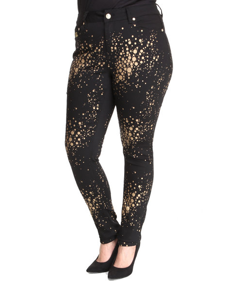 Coogi - Women Black Gold Sparkle Jeggings (Plus) - $41.00