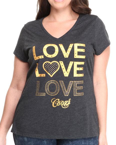 COOGI Black,Grey Love, Love, Love V-Neck Tee (Plus Size)
