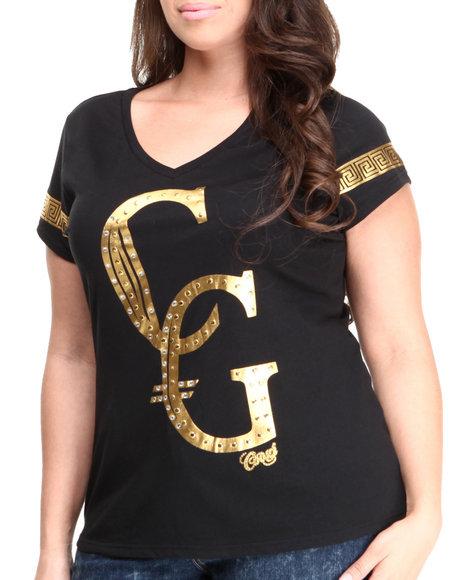 COOGI Black Gold Foil Logo V-Neck Tee W/ Studs (Plus Size)