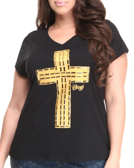 Coogi - Women Black Cross V-Neck Tee (Plus)