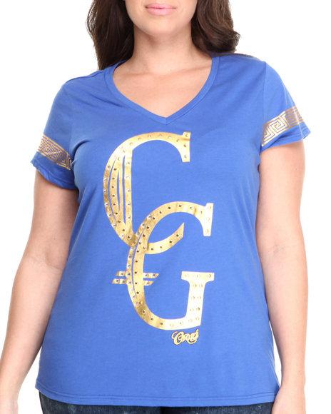 COOGI Blue Gold Foil Logo V-Neck Tee W/ Studs (Plus Size)