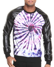 Double Needle - Hippy Raglan Faux Leather Sleeve Pullover