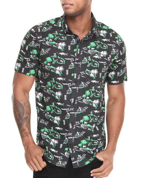 Dc Shoes - Men Black Space Ghost S/S Button-Down