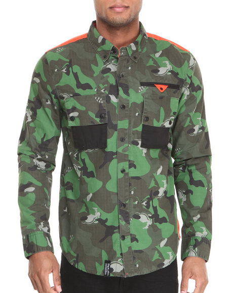 Lrg - Men Olive Wolfland L/S Button-Down