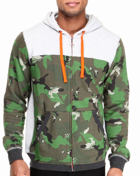 Lrg - Men Grey Wolfland Zip-Up Heavy-Weight Camo Hoodie