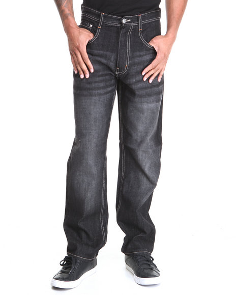 Akademiks - Men Black Rolodex Sand Blasted Signature Denim Jeans