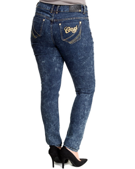 COOGI Medium Wash Skinny Coated Denim Jeans (Plus Size)