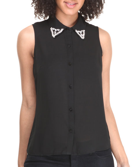 Fashion Lab - Women Black City Slicker Sleeveless Top W/Stone Detail - $9.99