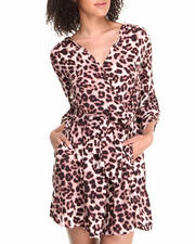 Women - Long Sleeve Leopard Print Dress
