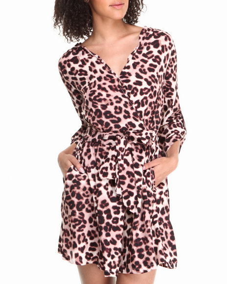 Fashion Lab - Women Animal Print,Cream Long Sleeve Leopard Print Dress - $19.99