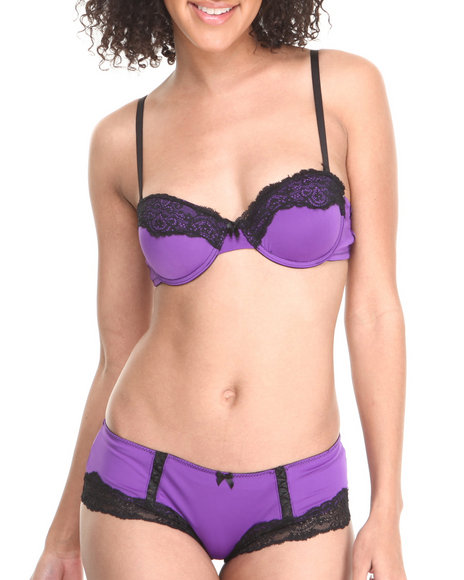 Drj Lingerie Shoppe - Women Purple Lace Trim Microfiber Panty And Bra Set