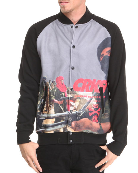 Crooks & Castles Black Corrupt Baseball Jacket