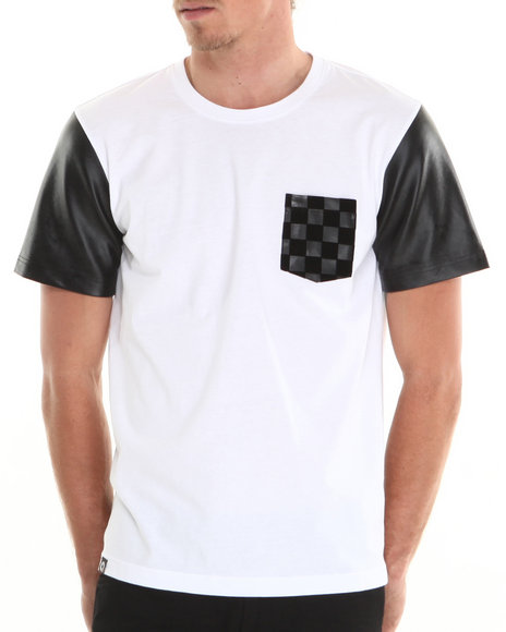 Akademiks - Men White Pantera Pattern Faux Leather Sleeve & Pocket Tee
