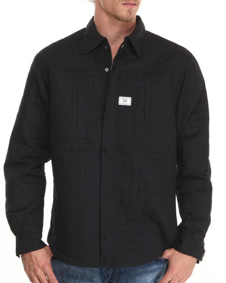 Well Established Black Monument Wellness Quilted L/S Button-Down Shirt