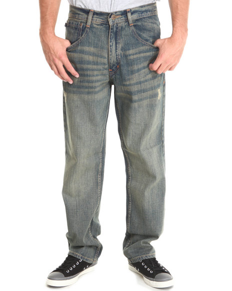 Akademiks - Men Vintage Wash Rolodex Sand Blasted Signature Denim Jeans