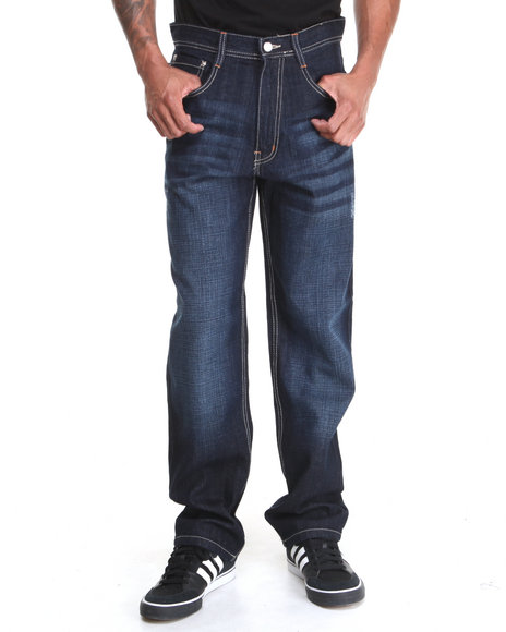 Akademiks - Men Dark Indigo Rolodex Sand Blasted Signature Denim Jeans