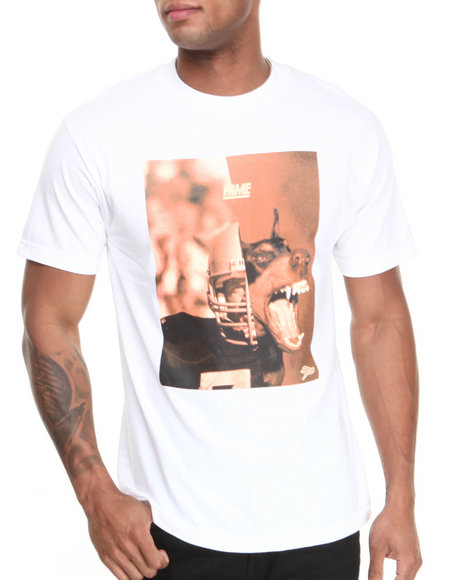Hall of Fame White Football & Dog Tee