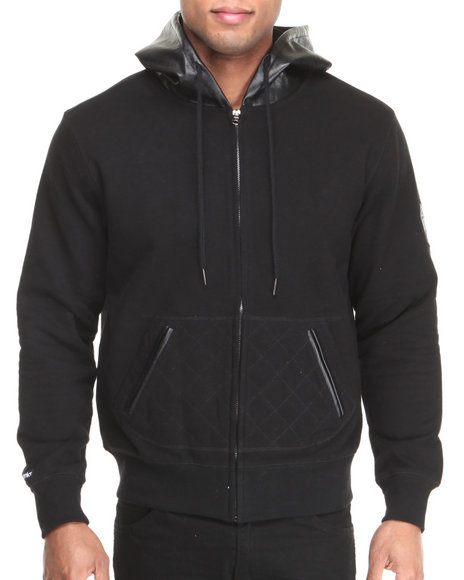 Akademiks - Men Black Iron Faux Leather Zip Hoody