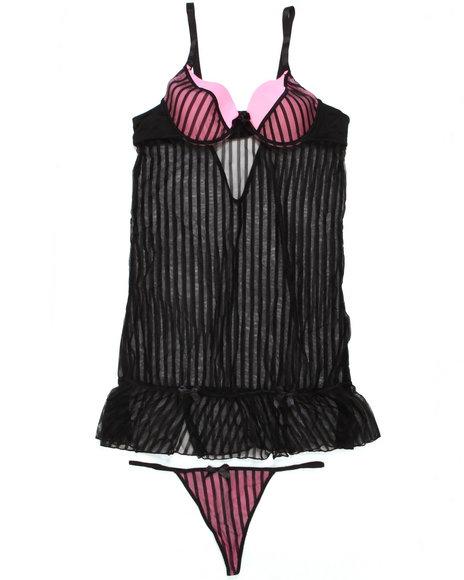 Baby Phat - Women Black, Pink Mesh Stripe Babydoll Set (Plus)