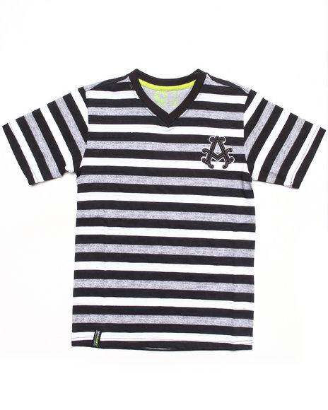 Akademiks - Boys Black Striped V-Neck Tee (8-20) - $10.99
