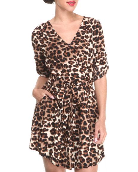 Fashion Lab Animal Print,Brown Leopard Print Dress
