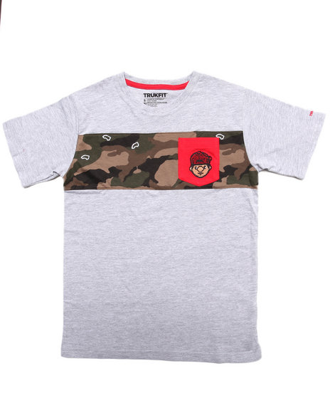 TRUKFIT Boys Grey Lil' Tommy Cut & Sew Pocket Tee (8-20)