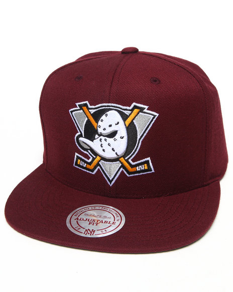Mitchell & Ness Mighty Ducks 20Th Anniversary Snapback Hat Maroon