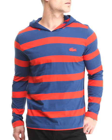 Lacoste Blue Striped Hooded Tee