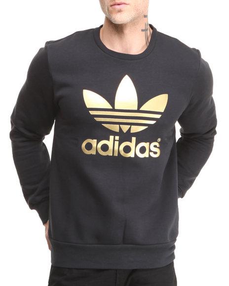 Adidas Black Mirror Trefoil Logo Crew Neck Sweatshirt