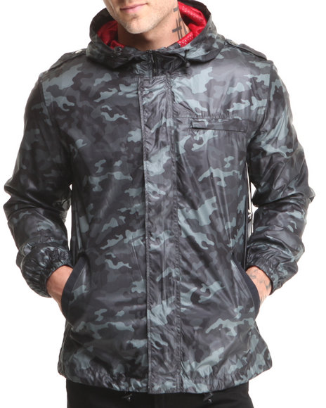 Beautiful Giant Black Beautiful Giant Camo Poly Mesh Lined Windbreaker