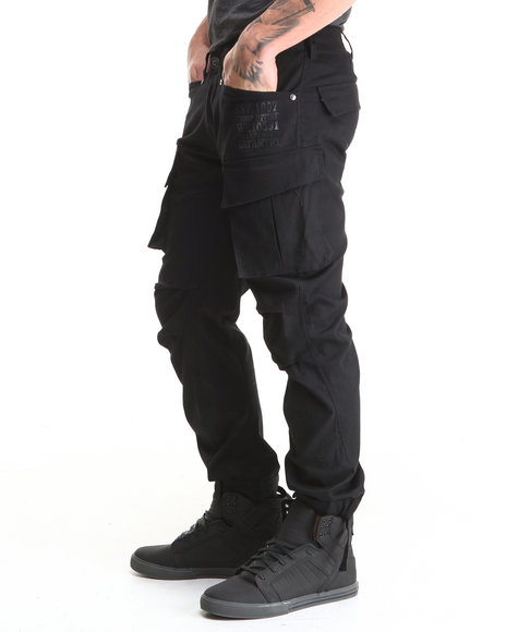 Well Established - Men Black Infantry Cargo Pant