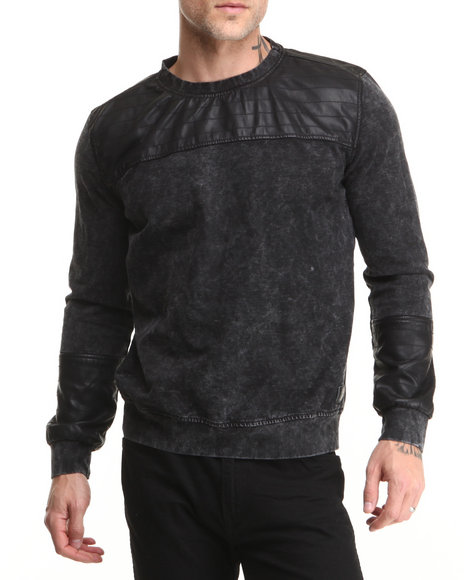 Hudson NYC Black Ryder Denim Knit Crewneck Sweatshirt
