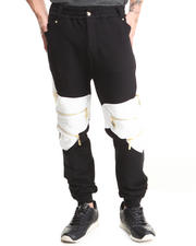 Cote De Nuits - Mixed Media French Terry Sweatpants W/ Zipper Detail