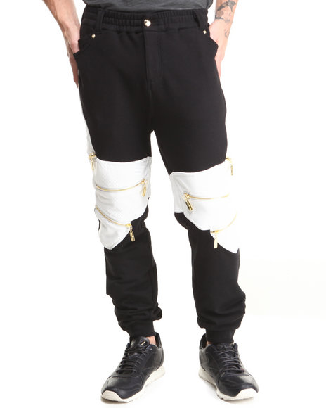 Cote De Nuits - Men Black Mixed Media French Terry Sweatpants W/ Zipper Detail