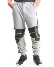 Men - Mixed Media French Terry Sweatpants W/ Zipper Detail