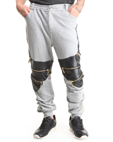 Cote De Nuits - Men Grey Mixed Media French Terry Sweatpants W/ Zipper Detail