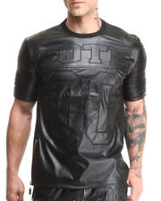 T-Shirts - Mixed Media Perforated Faux Leather S/S Tee